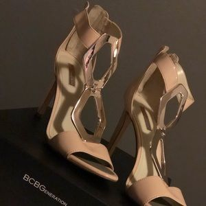 Nude Blush Patent Leather BCBG open toe heel